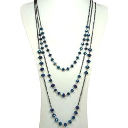 Royal Blue Glass Faceted Bead & Black Chain Three Layered Long Necklace