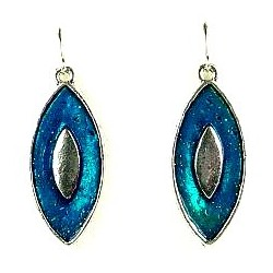 Young Women Costume Jewellery, Girls Gift, Chic Silver & Aqua Blue Enamel Teardrop Drop Earrings