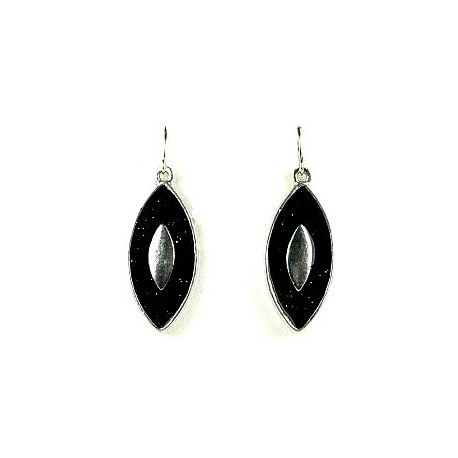 Young Women Costume Jewellery S Gift Chic Silver Black Enamel Teardrop Drop Earrings