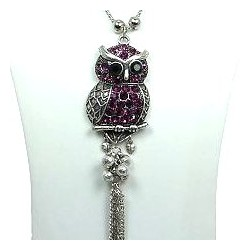 Purple Owl Pendant Tassel Long Necklace