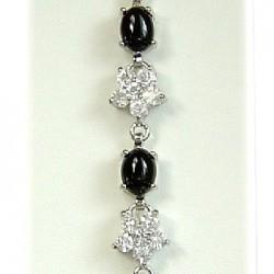 Oval Black Agate Stone Clear Diamante Flower Tennis Bracelet