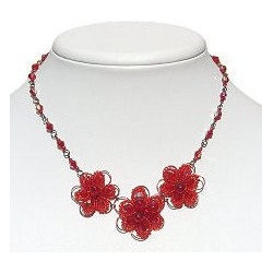 Handmade Bead Costume Jewellery, Fashion Handcrafted Women Girls Gift, Three Beaded Red Daisy Flowers Necklace