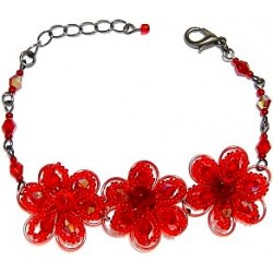 Handmade Bead Costume Jewellery, Fashion Handcrafted Women Girls Gift, Three Beaded Red Daisy Flower Bracelet