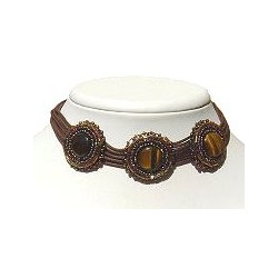 Dark Brown Three Circle Multi-strand Cord Choker