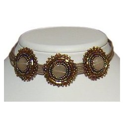 Brown Beaded Three Circle Multi-strand Cord Choker