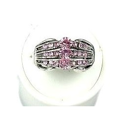 Classic Costume Jewellery Rings, Fashion Women Girls Gift, Pink Diamante Triple Row Band Ring
