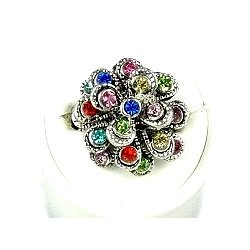 Chic Costume Jewellery, Fashion Women Girls Birthday Gift, Multi Colour Diamante Chrysanthemum Flower Ring