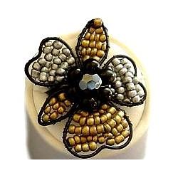 Handcrafted Costume Jewellery, Fashion Women Girls Handmade Gift, Fancy Petals Beaded Flower Ring