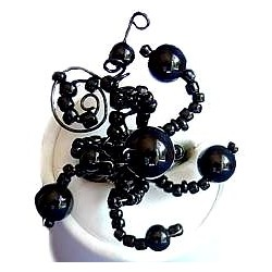 Handcrafted Costume Jewellery, Fashion Women Girls Handmade Gift, Creative Flexible Twist Black Beaded Wave Ring