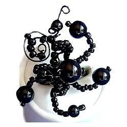 Handcrafted Costume Jewellery, Fashion Women Girls Handmade Gift, Creative Flexible Twist Black Beaded Wave Ring