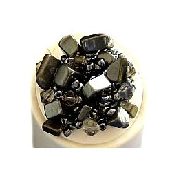 Haematite Tumblechip Dark Grey Beaded Ring