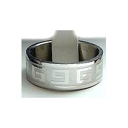 Greek Stainless Steel Matt Band Ring