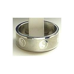 Tai Chi Symbol Stainless Steel Matt Band Ring