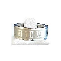 Roman Numerals Stainless Steel Matt Band Ring