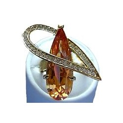 Large Bold Big Statement Costume Jewellery, Fashion Women Gift, Brown Crystal Large Teardrop Antique Goldtone Cocktail Ring