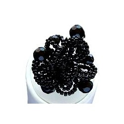 Handmade Bold Statement Bead Costume Jewellery, Handcrafted Fashion Women Girls Gift, Black Beaded Blossom Flower Ring