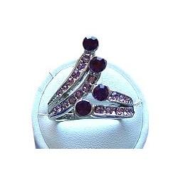 Feminine Costume Jewellery, Fashion Women Girls Gift, Purple Diamante Fancy Crossover Dress Ring