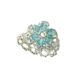 Blue Crystal Bead Flower Stitch Beaded Stretch Ring