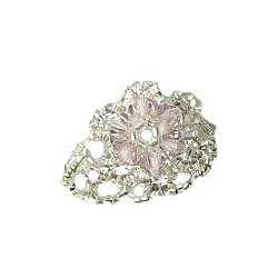 Pink Crystal Bead Flower Stitch Beaded Stretch Ring