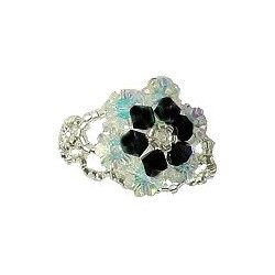 Black Crystal Bead Flower Stitch Beaded Stretch Ring