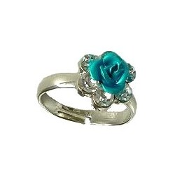 Cheap Costume Jewellery, Fashion Women Girls Dainty Small Gifts, Clear Diamante Blue Metal Rose Flower Ring