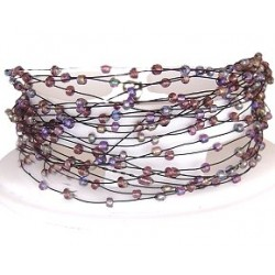 Handcrafted Costume Jewellery, Fashion Women Unique Handmade Gift, Multi Strand Floating Mixed Purple Bead Cascade Bracelet