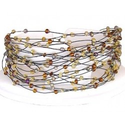 Multi Strand Floating Mixed Brown Bead Cascade Bracelet
