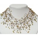 Illusion Brown & Green Bead Floating Choker Cascade Necklace