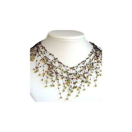 Handmade Bead Costume Jewellery, Fashion Handcrafted Women Gift, Illusion Brown Bead Floating Choker Cascade Necklace