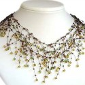 Illusion Brown Bead Floating Choker Cascade Necklace
