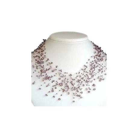 Handcrafted Bridal Beaded Costume Jewellery, Women Wedding Dress Gift, Illusion Purple Bead Floating Choker Cascade Necklace