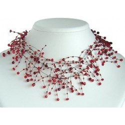 Illusion Red Bead Floating Choker Cascade Necklace