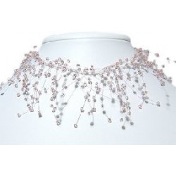 Illusion Soft Pink Bead Twist Floating Choker Cascade Necklace
