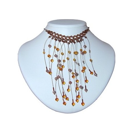 Handcrafted Bridal Beaded Costume Jewellery, Women Wedding Dress Gift, Brown Floating Bead Waterfall Choker Cascade Necklace