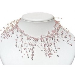 Handcrafted Beaded Costume Jewellery, Women Dress Gift, Illusion Pink Bead Twist Floating Choker Cascade Necklace