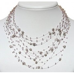 Handmade Beaded Costume Jewellery Necklaces, Women Gift, Multi-Strand Floating Lilac Pearl Bead Illusion Cascade Necklace