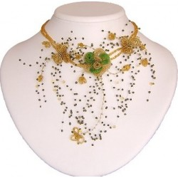 Brown & Green Floating Bead Cascade Statement Necklace Beaded Flower Choker