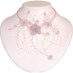 Pink Floating Bead Cascade Statement Necklace Beaded Flower Choker