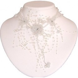 White Floating Bead Cascade Statement Necklace Beaded Flower Choker