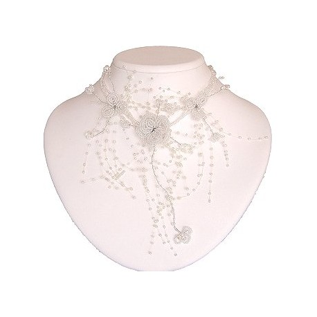Bridal Costume Jewellery, Women Wedding Party Dress Gift, White Floating Bead Cascade Statement Necklace Beaded Flower Choker