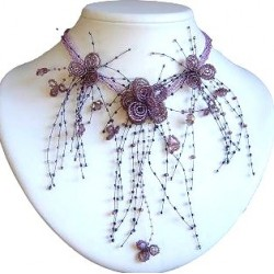Purple Floating Bead Cascade Statement Necklace Beaded Flower Choker