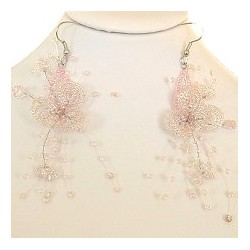 Unique Beaded Costume Jewellery, Handcrafted Women Girls Party Dress Gift, Pink Floating Bead Flower Drop Earrings