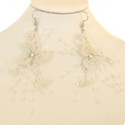 White Floating Bead Flower Drop Earrings