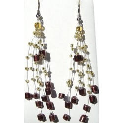Floating Brown Pearl Gold Bead Illusion Multi Strand Earrings