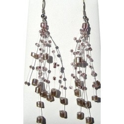 Floating Lilac Pearl Bead Illusion Multi Strand Earrings
