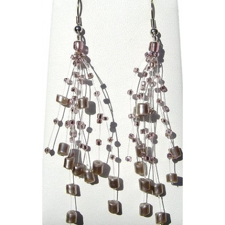 Handcrafted Beaded Costume Jewellery, Fashion Women Gift, Floating Lilac Pearl Bead Illusion Multi Strand Earrings