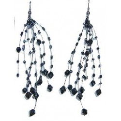 Handcrafted Beaded Costume Jewellery, Fashion Women Handmade Gift, Black Floating Bead Illusion Multi Strand Earrings