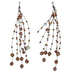 Handcrafted Beaded Costume Jewellery, Fashion Women Handmade Gift, Brown Floating Bead Illusion Multi Strand Earrings