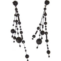 Unique Beaded Costume Jewellery, Handcrafted Women Girls Party Gift, Illusion Black Bead Floating Four Strand Dropper Earrings