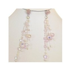 Illusion Pink Bead Floating Four Strand Dropper Earrings
